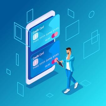 Concept coloré sur fond bleu, gestion des cartes de crédit en ligne, un jeune homme appelle le centre d'appels pour transférer de l'argent de la carte à la carte