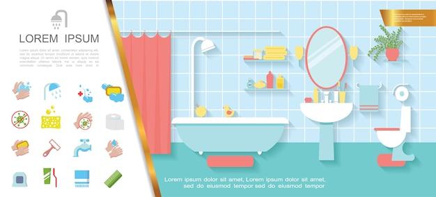 Concept coloré intérieur de salle de bain plat
