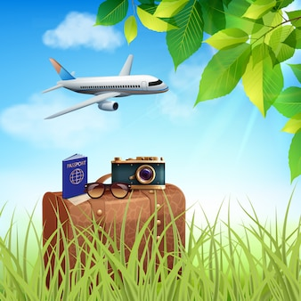 Concept coloré réaliste de vacances d'été