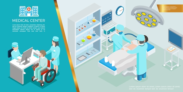Concept coloré de soins de santé isométrique