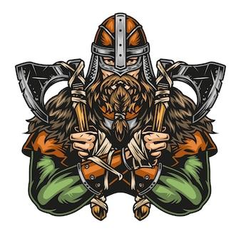 Concept coloré vintage de guerrier viking en casque tenant des haches à deux mains illustration vectorielle isolée