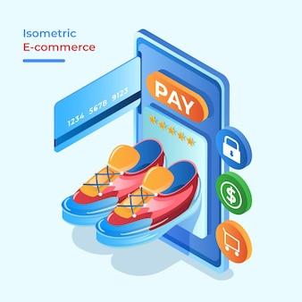 Concept de commerce électronique isométrique, acheter des chaussures