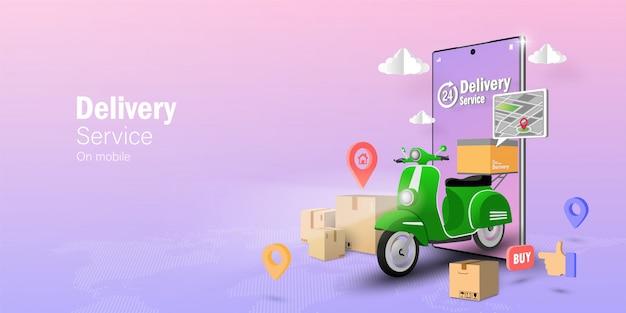Concept de commerce électronique, service de livraison sur application mobile