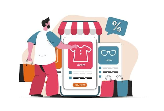 Concept de commerce mobile isolé. achats en ligne, paiement dans l'application mobile. scène de personnes en dessin animé plat. illustration vectorielle pour les blogs, site web, application mobile, matériel promotionnel.