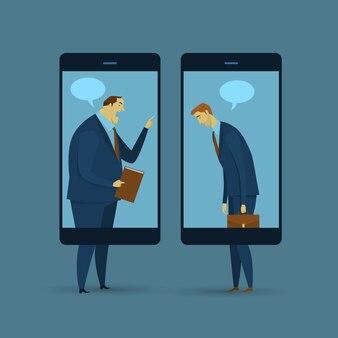 Concept commercial abstrait de la communication. communication mobile.
