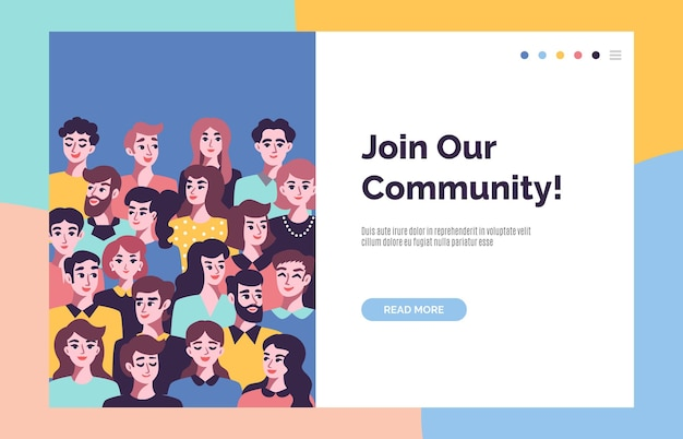 Concept de communauté avec avatars masculins et féminins