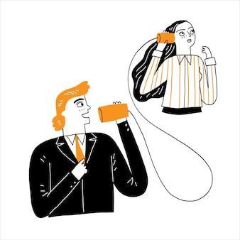 Concept de communication, homme parlant à travers un fil comme un appel téléphonique