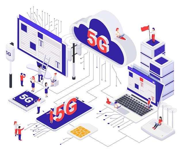 Concept de communication internet 5g moderne avec routeur cloud carte sim puce de téléphone portable cellulaire aérien isométrique