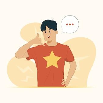 Concept de communication jeune homme faisant illustration de geste de téléphone
