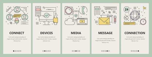 Concept de communication ligne mince design plat bannières verticales