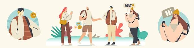 Concept de communication téléphonique. jeunes hommes et femmes avec téléphones portables ou smartphones, personnages adolescents discutant, textos, lisant le fil d'actualité dans les médias sociaux. illustration vectorielle de gens de dessin animé