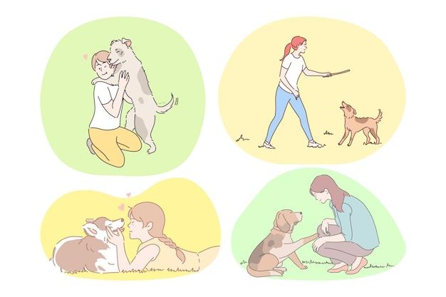 Concept de compagnie et d'amitié chiens