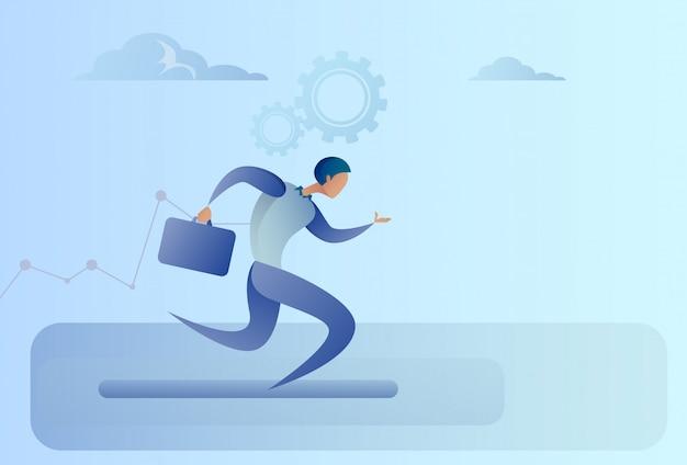Concept de compétition business man run team leader