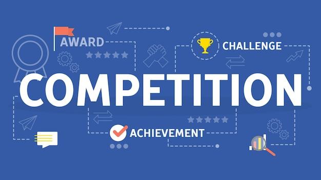 Concept de compétition. idée de course commerciale et ambition