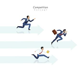 Concept de compétition avec trois homme d'affaires courant ensemble sur la flèche et le fond blanc