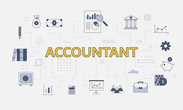 Concept de comptable d'entreprise avec jeu d'icônes avec grand mot ou texte au centre