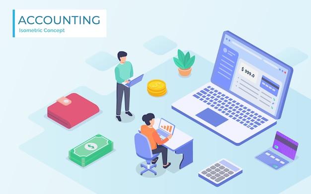 Concept de comptable en ligne isométrique. une comptable prépare un rapport fiscal et calcule un chèque de paiement sur la base de données. illustration
