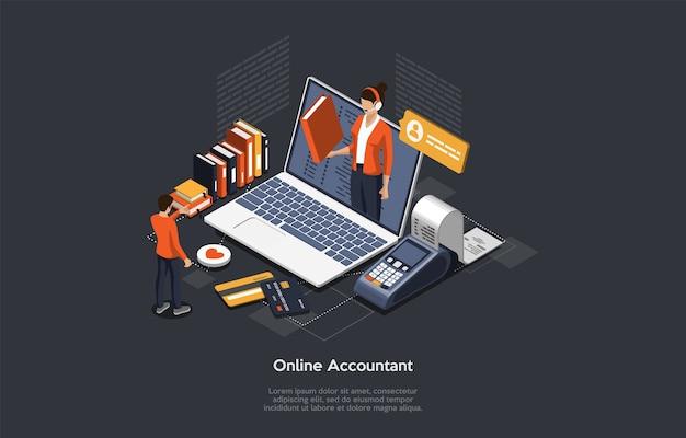 Concept comptable en ligne isométrique. femme comptable prépare un rapport d'impôt et calcule le chèque de paiement en fonction des données. déclaration du comptable en ligne du service juridique.