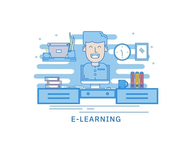 Concept de concept de page web de bibliothèque mobile e-learning