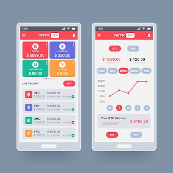 Concept de conception d'application crypto-monnaie