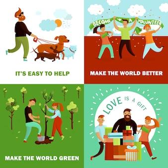 Concept de conception de bénévoles heureux