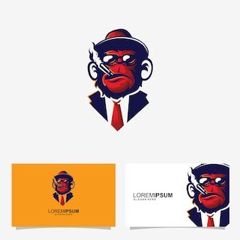 Concept de conception de carte d'identité logo de singe sports gaming élite singe rouge un singe avec de la fumée