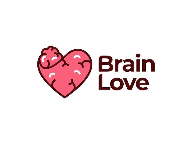 Concept de conception de cerveau et d'amour
