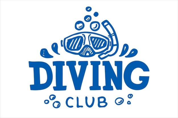 Concept de conception de club de plongée et d'école de plongée pour le timbre ou le tee-shirt d'impression de chemise ou de logo