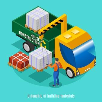 Concept de conception de construction de maison illustré le déchargement des matériaux de construction avec illustration vectorielle isométrique de grue
