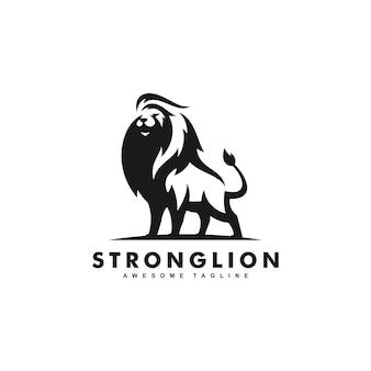 Concept de conception de couleur noire forte de lion
