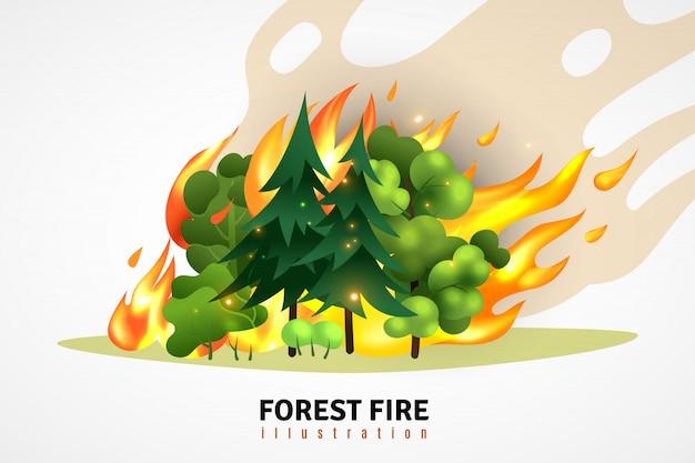 Concept de conception de dessin animé de catastrophes naturelles illustré de conifères verts et d'arbres à feuilles caduques en forêt sur une illustration de feu qui fait rage