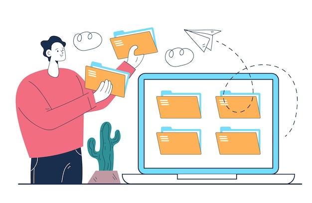 Concept de conception d'illustration abstraite d'organisation de fichier
