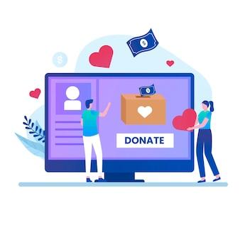Concept de conception d'illustration de don en ligne