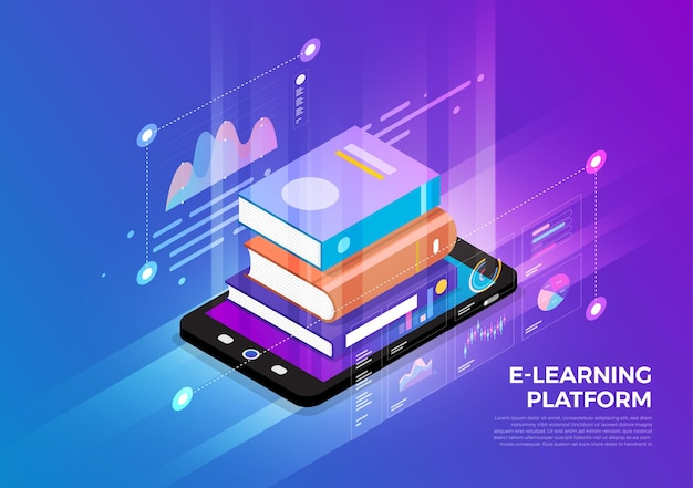 Concept de conception d'illustrations isométriques solution de technologie mobile au sommet avec e-learning