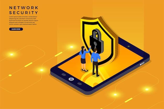 Concept de conception illustrations isométriques solution de technologie mobile cybersécurité et dispositif