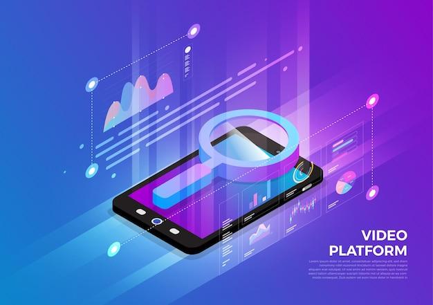 Concept de conception d'illustrations isométriques solution de technologie mobile sur le dessus avec moteur de recherche