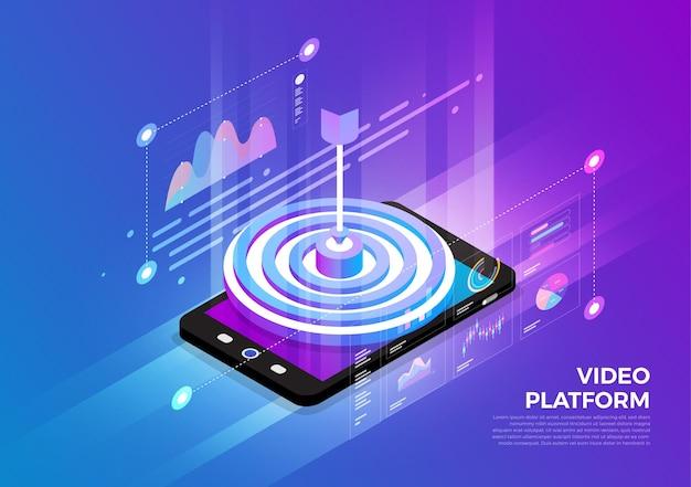 Concept de conception d'illustrations isométriques solution de technologie mobile sur le dessus avec public cible