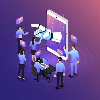 Concept de conception d'illustrations isométriques solution de technologie mobile sur le dessus