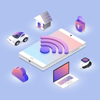 Concept de conception illustrations isométriques technologie de réseau sans fil travaillant sur appareil mobile