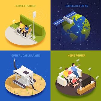 Concept de conception isométrique 2x2 de la technologie de communication internet moderne 5g avec illustration conceptuelle des personnes et de l'infrastructure