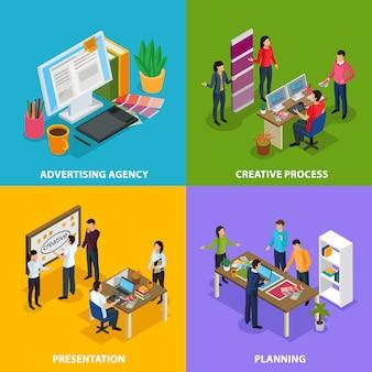 Concept de conception isométrique d'agence de publicité avec lieu de travail de planification de la présentation du processus de création
