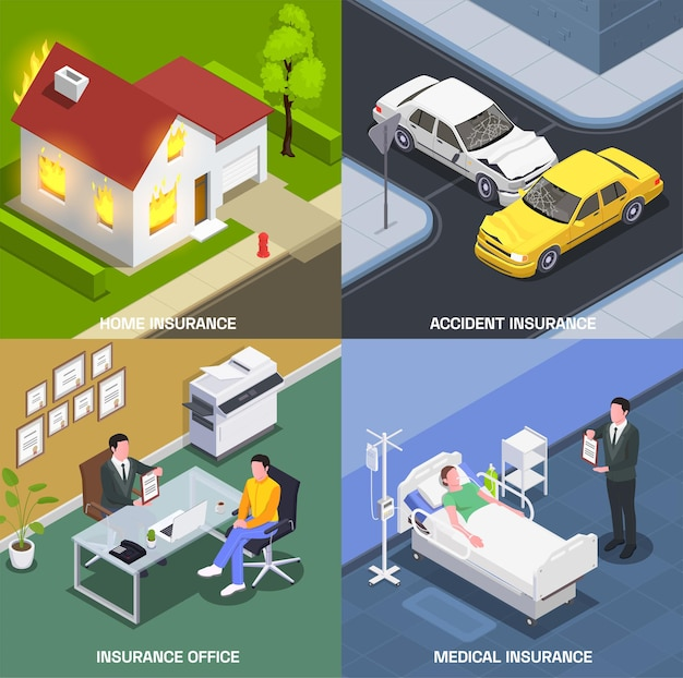 Concept de conception isométrique d'assurance avec ensemble de compositions carrées avec hôpital de bureau d'agents et accidents soudains