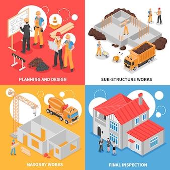 Concept de conception isométrique de bâtiment