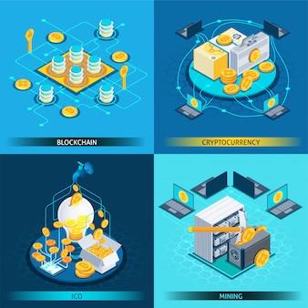 Concept de conception isométrique de la crypto-monnaie blockchain