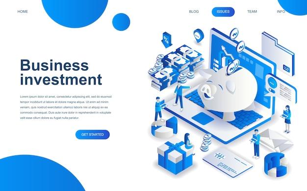 Concept de conception isométrique moderne de l'investissement des entreprises