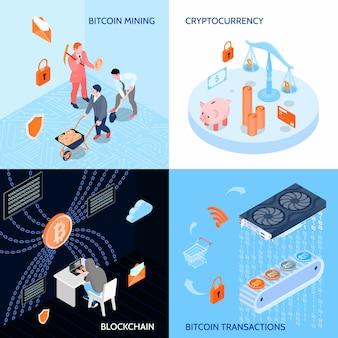 Concept de conception isométrique de la monnaie cryptée