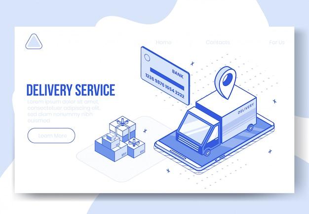 Concept de conception isométrique numérique du service de livraison
