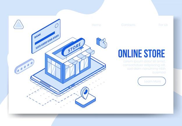 Concept de conception isométrique numérique de magasin en ligne
