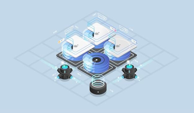 Concept de conception isométrique réalité virtuelle et réalité augmentée.