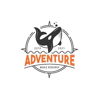 Concept de conception de logo d'aventure et de recherche de baleine